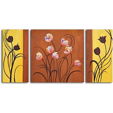 My Art Outlet Deco Tulips 3 Piece Painting on Wrapped Canvas Set