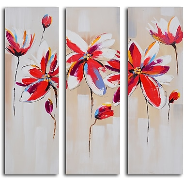 My Art Outlet Dalliance of Red Floral 3 Piece Painting on Wrapped Canvas Art Set