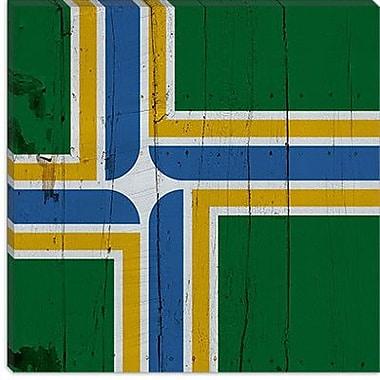 iCanvas Portland Flag, Planks Graphic Art on Canvas; 26'' H x 26'' W x 0.75'' D