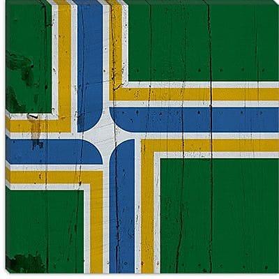 iCanvas Portland Flag, Planks Graphic Art on Canvas; 37'' H x 37'' W x 0.75'' D