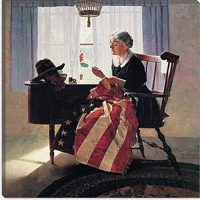 iCanvas 'Mending the Flag' by Norman Rockwell Painting Print on Canvas; 26'' H x 26'' W x 1.5'' D