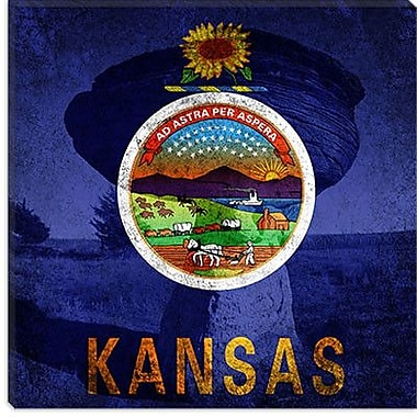 iCanvas Kansas Flag, Mushroom Rock Graphic Art on Canvas; 26'' H x 26'' W x 1.5'' D