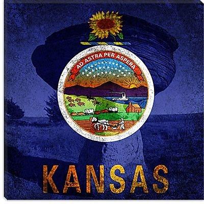 iCanvas Kansas Flag, Mushroom Rock Graphic Art on Canvas; 26'' H x 26'' W x 1.5'' D
