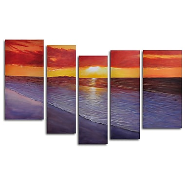 My Art Outlet Twilight Shore 5 Piece Painting on Wrapped Canvas Set