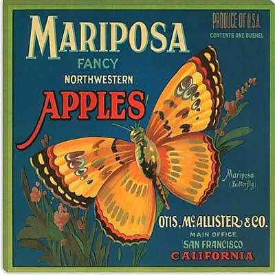 iCanvas Mariposa Apples Crate Label Vintage Advertisement on Cancas; 18'' H x 18'' W x 1.5'' D
