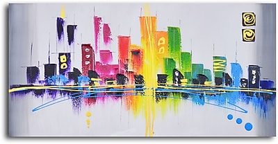 My Art Outlet Rainbow City Scape Painting on Wrapped Canvas