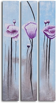 My Art Outlet Lavender Poppies in White' 3 Piece Painting on Wrapped Canvas Set