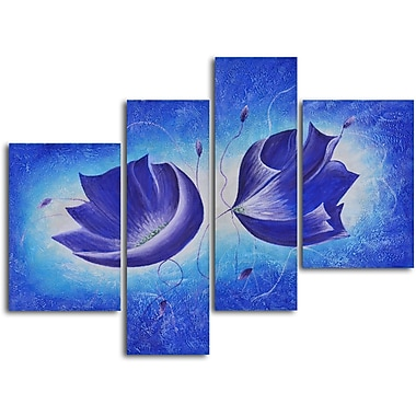 My Art Outlet Violet Floral Fantasy' 4 Piece Painting on Wrapped Canvas Set