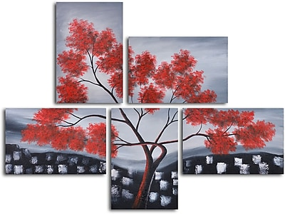 My Art Outlet Red Leaves Over Rooftops' 5 Piece Painting on Wrapped Canvas Set