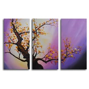 My Art Outlet Autumn Leaves, Purple Aura 3 Piece Painting Print on Wrapped Canvas Set
