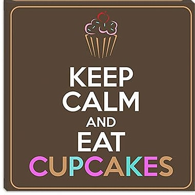 iCanvas Keep Calm and Eat Cupcakes Graphic Art on Canvas; 18'' H x 18'' W x 0.75'' D