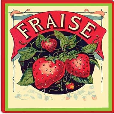 iCanvas Fraise Strawberries Vintage Crate Label Graphic Art on Canvas; 26'' H x 26'' W x 0.75'' D