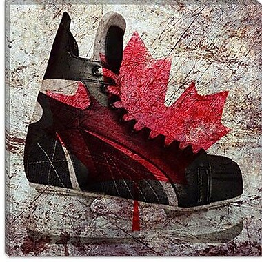 iCanvas Canada Hockey Ice Skates Graphic Art on Canvas; 18'' H x 18'' W x 1.5'' D