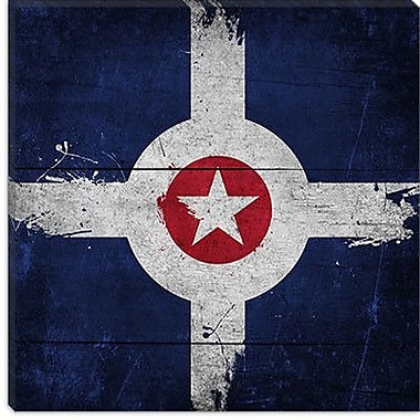 iCanvas Indianapolis Flag w/ Splatters Graphic Art on Canvas; 26'' H x 26'' W x 0.75'' D