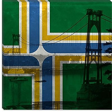 iCanvas Portland Flag, Vintage St. Johns Bridge Graphic Art on Canvas; 26'' H x 26'' W x 1.5'' D