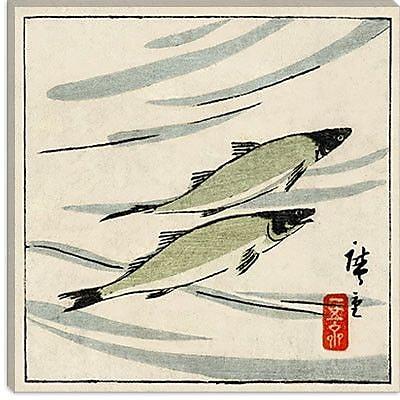 iCanvas ''Ayu Zu'' by Hiroshige lll Graphic Art on Canvas; 18'' H x 18'' W x 1.5'' D