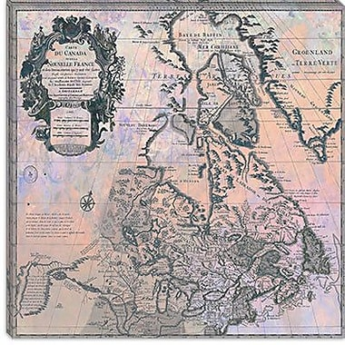 iCanvas Canada Vintage Map, 1730 #2 Graphic Art on Canvas; 18'' H x 18'' W x 1.5'' D