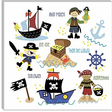 iCanvas ''Pirates and Ships'' by Erin Clark Graphic Art on Canvas; 18'' H x 18'' W x 1.5'' D