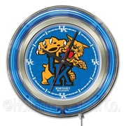 Holland Bar Stool NCAA 15'' Double Neon Ring Logo Wall Clock; Kentucky ''Wildcat''