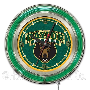 Holland Bar Stool NCAA 15'' Double Neon Ring Logo Wall Clock; Baylor