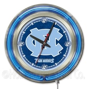 Holland Bar Stool NCAA 15'' Double Neon Ring Logo Wall Clock; North Carolina