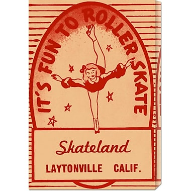 Global Gallery 'It's Fun To Roller Skate' by RetroRollers Vintage Advertisement on Wrapped Canvas