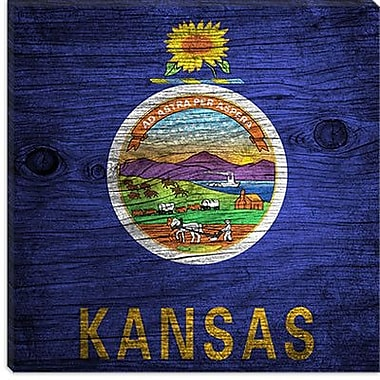 iCanvas Kansas Flag, Wood Board Graphic Art on Canvas; 18'' H x 18'' W x 1.5'' D
