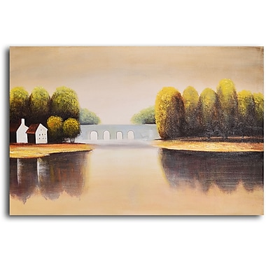 My Art Outlet 'Bridge to Home' Painting Print on Wrapped Canvas