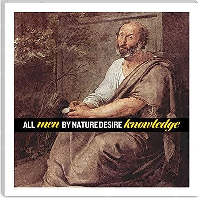 iCanvas Aristotle Quote Painting Print on Canvas; 12'' H x 12'' W x 0.75'' D