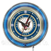 Holland Bar Stool US Armed Forces 15'' Double Neon Ring Logo Wall Clock; Navy
