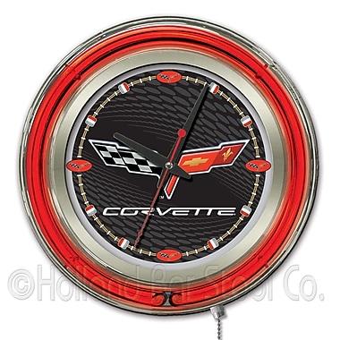 Holland Bar Stool Corvette - C6 15'' Double Neon Ring Logo Wall Clock; Black / Silver