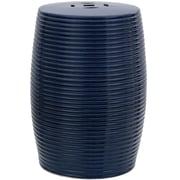 Oriental Furniture Ribbed Porcelain Garden Stool; Dark Blue