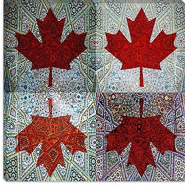 iCanvas Canada Flag Maple Leaf #7 Graphic Art on Canvas; 37'' H x 37'' W x 0.75'' D