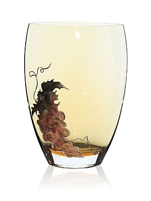 Womar Glass Gold Grapes Vase; 12'' H x 8'' W x 5'' D