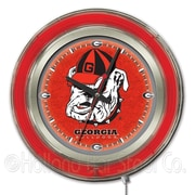 Holland Bar Stool NCAA 15'' Double Neon Ring Logo Wall Clock; Georgia ''Bulldog''