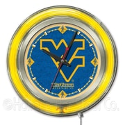 Holland Bar Stool NCAA 15'' Double Neon Ring Logo Wall Clock; West Virginia