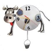 H & K SCULPTURES Cow Pendulum Clock