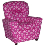 Brazil Furniture Home Theater Children's Cotton Recliner w/ Cup Holder; Peace Pink