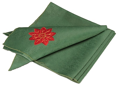 Xia Home Fashions Holly Leaf Poinsettia Embroidered Cutwork Holiday Napkin (Set of 4)