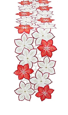 Xia Home Fashions Candy Cane Poinsettia Embroidered Cutwork Holiday Table Runner; 62'' W x 8'' L