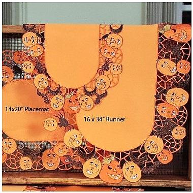 Xia Home Fashions Happy Jack-O-Lanterns Table Runner