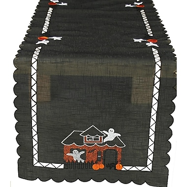 Xia Home Fashions Haunted House Embroidered Cutwork Table Runner; 36'' W x 16'' L