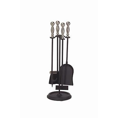 Minuteman 4 Piece Mini Fireplace Tool Set; Pewter / Black