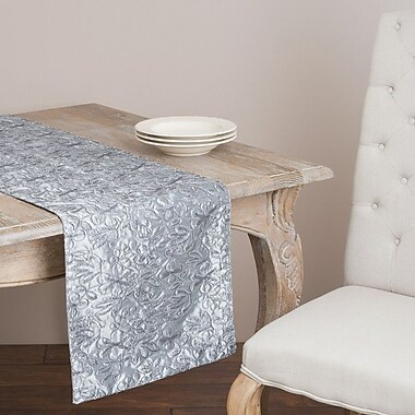Saro Cord Embroidery Runner; Pewter