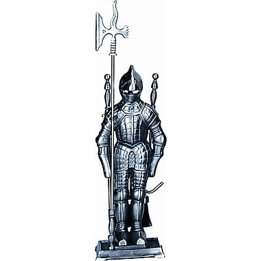 Uniflame Mini Triple Pleated Soldier Pewter Fire Tool Set w/ Stand