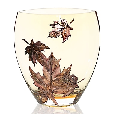 Womar Glass Hand Painted Glass Autumn Leaves Series II Vase; 10'' H x 9'' W x 5'' D