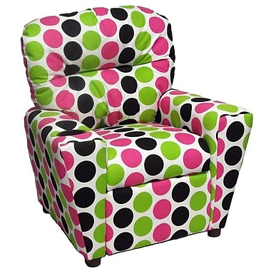 Brazil Furniture Home Theater Children's Cotton Recliner w/ Cup Holder; Fancy Pink - Black