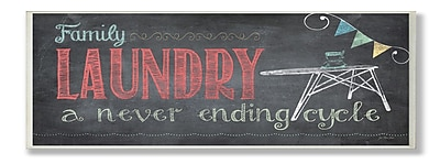 Stupell Industries Family Laundry Never Ending Chalkboard Look Wall Plaque