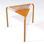 Markamoderna Stingo Hand-Woven PVC Cord Stool; White / Orange