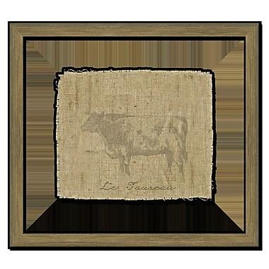 Melissa Van Hise Cow on Linen II Framed Graphic Art; Taupe
